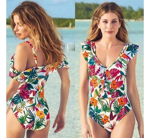 Ex Avon Floral Ruffle Print Swimsuit