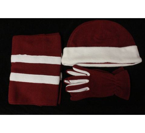 boxed burgundy fleece hat scarf and gloves