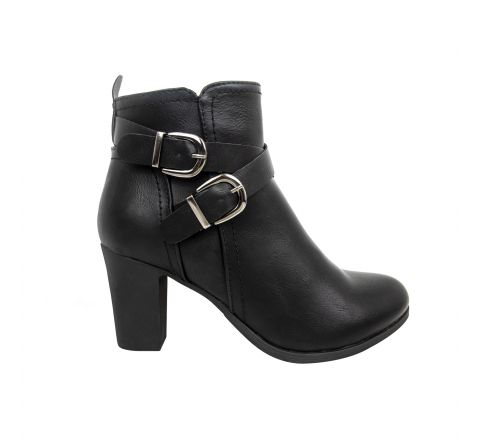 Buckle Strap Leather-look Heeled Ankle Boots