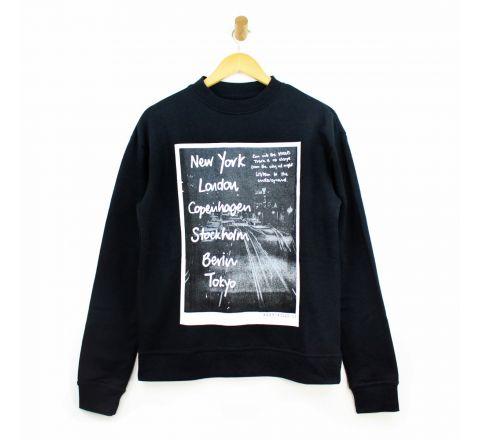 Mens Black Lounge Comfort Wear Sweater Jumper City Logo